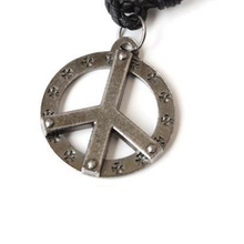 Peace Pendant with leather necklace
