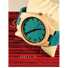 SunFly Maple Wood Timepiece with Turquoise Leather Strap