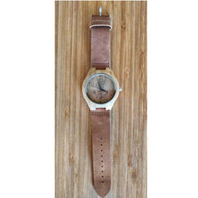 SunFly Bamboo Anchor Watch with Soft Tan Leather Band - Men's / Unisex