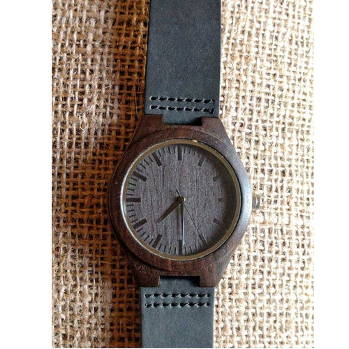 SunFly Ebony Timepiece with Dark Face and Soft Leather Band - Men's / Unisex