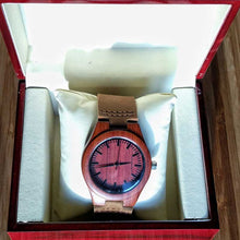SunFly Red Sandalwood Watch with Brown Leather Band - Men's / Unisex
