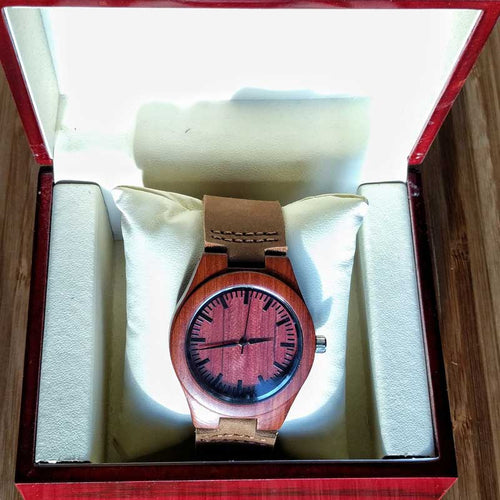 SunFly Red Sandalwood Watch with Brown Leather Band - Women's
