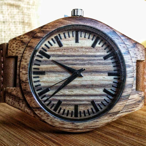 SunFly Zebrawood Timepiece with Soft Tan Leather Band - Men's
