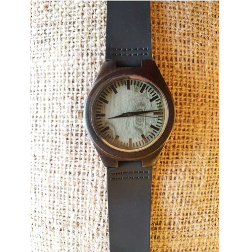 SunFly Black Ebony Wood Watch with Green Face and leather band - Mens / Unisex