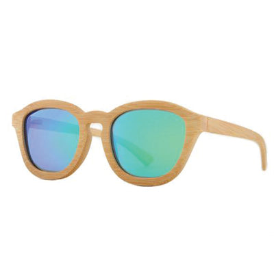 SunFly Round Natural Grain Sunglasses with Green Polarized Lens