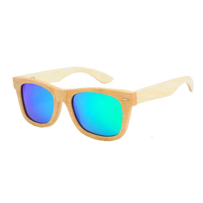 SunFly Natural Grain Wayfarer Sunglasses with Green Mirror Lens