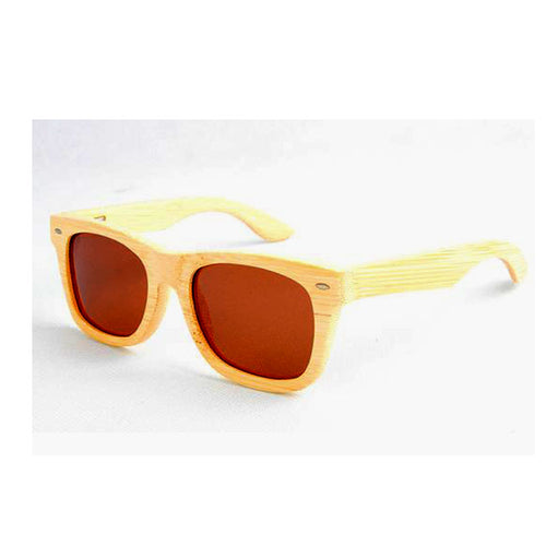 SunFly Natural Grain Bamboo Wayfarer Sunglasses with Brown Polarized Lens