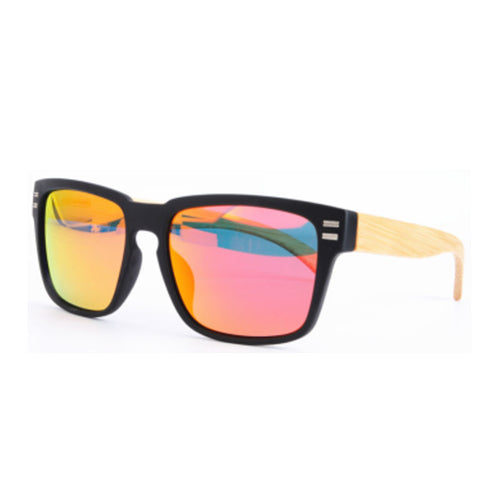Black Sport Sunglasses with Bamboo Arms and Red Mirror Lens