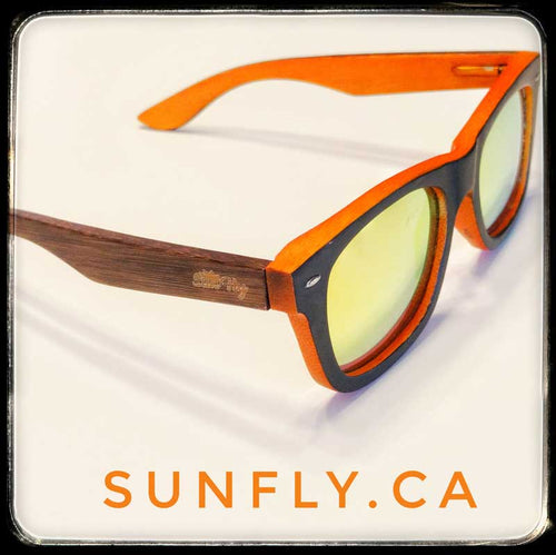 SunFly Brown and Orange Bamboo Sunglasses with Gold Mirror Lens