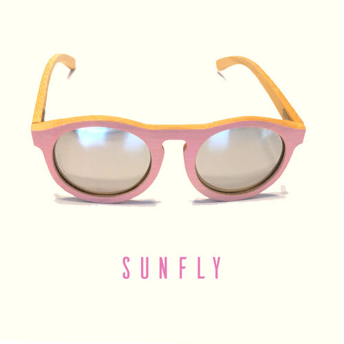 SunFly Pink Bamboo Sunglasses with Silver Mirror Polarized Lens