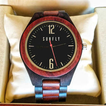 SunFly Red Sandalwood and Ebony Wood Hand-Crafted Watch