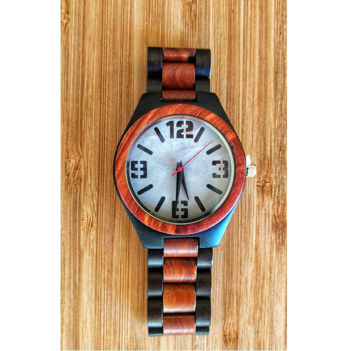 SunFly Red Sandalwood and Ebony Wood Timepiece with white face