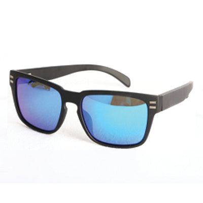 SunFly Sport Style Sunglasses with Bamboo Arms and Blue Mirror Lens