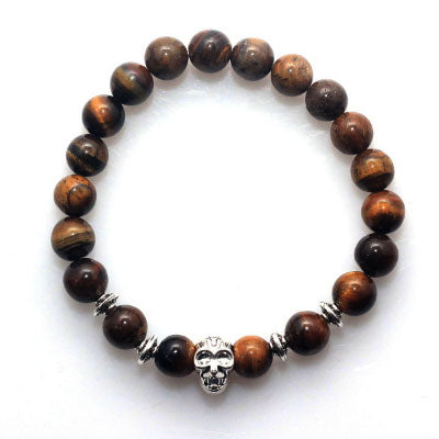 Tiger's Eye with Skull - 8mm