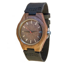 SunFly Walnut Wood Timepiece with Black Leather Strap - Men's