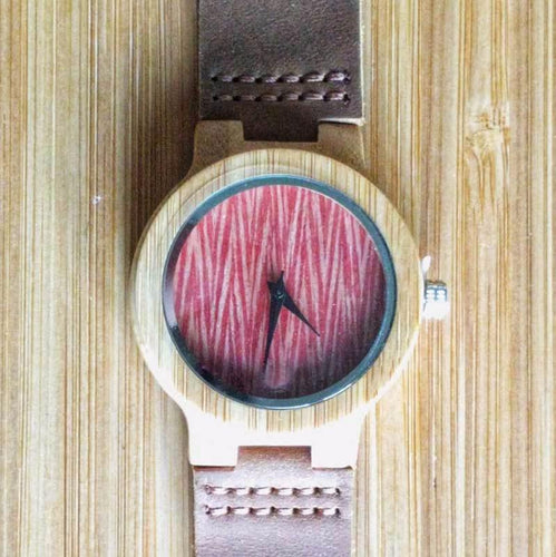 SunFly Bamboo Watch with textured red face and leather band - Women's