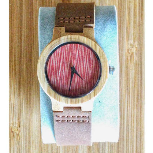 SunFly Bamboo Watch with textured red face and leather band - Men's / Unisex