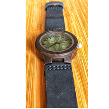 SunFly Ebony Wood Watch with black leather band and green face - Women's