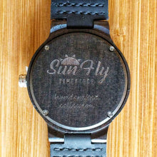 SunFly Dark Ebony Wood Watch with dark face and leather band - Women's