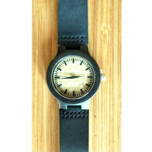 SunFly Ebony Watch with Light Yellow Textured Face  - Women's