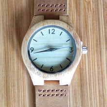 SunFly Natural Grain Bamboo Watch with Brown Leather Band - Women's