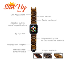 SunFly Apple Watch Wood Band - Red and Dark Sandalwood