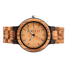 SunFly Zebra Wood & Ebony Calendar Full Wood Timepiece
