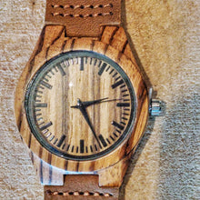SunFly Zebra Wood Timepiece with soft tan leather strap - Women's