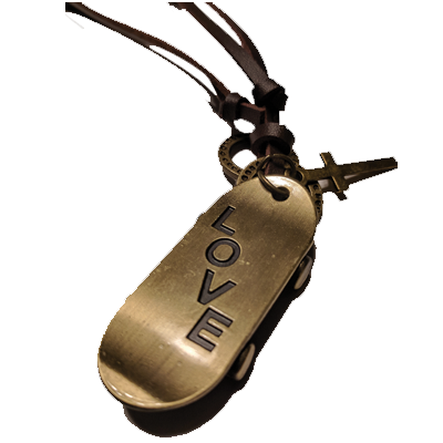 Leathers Skateboard 'Love' Pendant Necklace