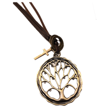 Summer Tree Pendant leather Necklace