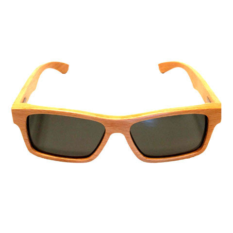 Sunfly natural grain bamboo sunglasses with grey lens front view