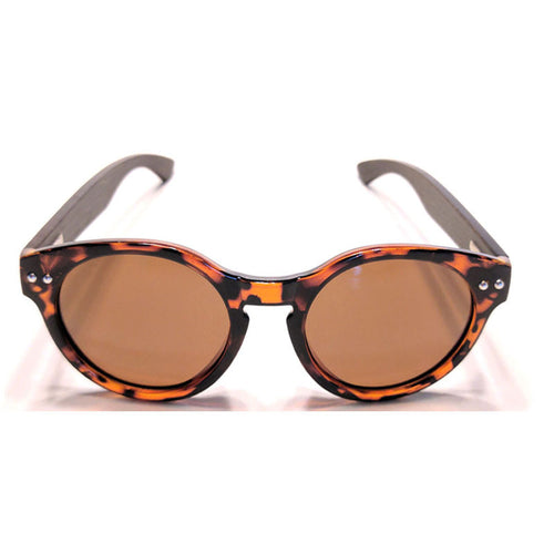 Sunfly dark brown bamboo tortoise shell sunglasses front product view