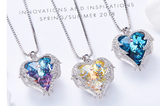 Angel Wings Heart Pendant Necklace  Birthday Party Gift  Necklace with Colorful Crystal