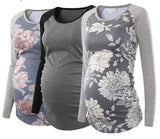 Pack of 3pcs Women's Maternity Tunic Tops Long Sleeve Scoop Neck Pregnancy T-shirt