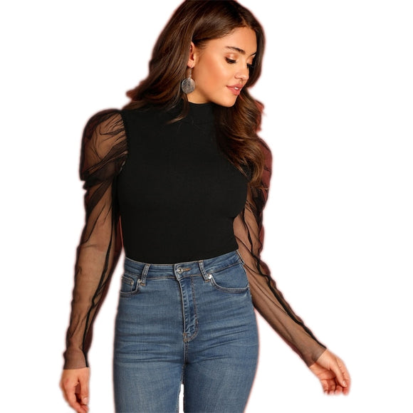 Elegant Black Mesh Sleeve T-Shirt  Long Sleeve Party Tops Tee