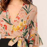 Women Floral Print Wrap Bodice Wide Leg Jumpsuit  Deep V Neck Knot Hem Flounce Sleeve Workwear Jumpsuits