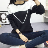 White Sweater for Women Patchwork Hoodies Women V Pattern Pullover Sweatshirt  Black and White Sweatshirt