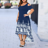 Casual Plus Size O-Neck Print Off-Shoulder Short Sleeve Waist Dress Evening Party Summer Dress Plus Size Summer Dresses 2020