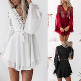 White Summer Dress Ladies Sexy Party Long Sleeve Dress vestidos mujer verano