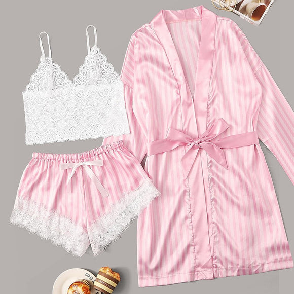 Pijama Lace Satin Pajamas 3 pcs Sets Wireless Bra Sleepwear Pijamas for  Women