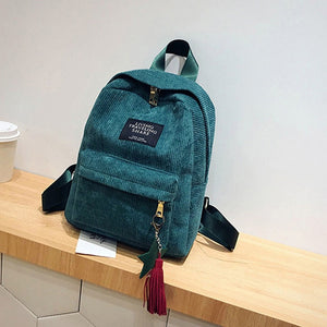 Women Backpacks School Soulder Bag With Tassel Corduroy