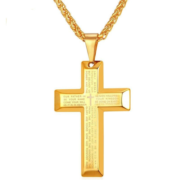Cross Necklaces with Lords Prayer Words Stainless Steel Pendant & Chain For Men Hip Hop Jewelry Father's Day Gift