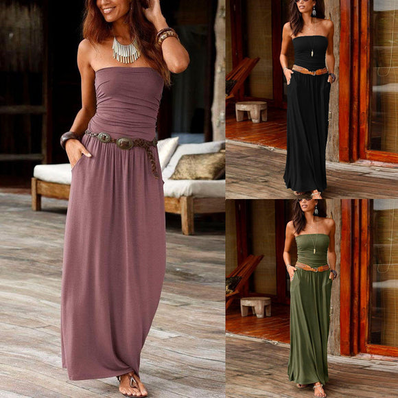 Womens Bandeau Off Shoulder Long Dress Summer Maxi Dress Ladies