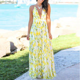 Print Floral Maxi Dress  New Summer Dresses 2020 Sleeveless V-neck Beach Dress