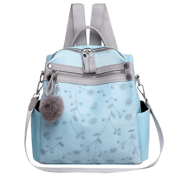 Women's fashion lace shoulder bag soft leather embroidery large capacity multi-functional student leisure travel bag
