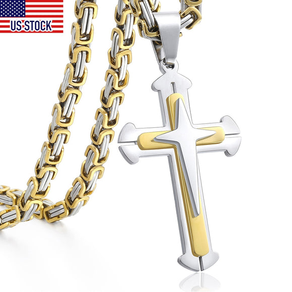 Cross Pendant Necklaces for Men Stainless Steel 3 Layer Knight Cross Mens Necklace Chain