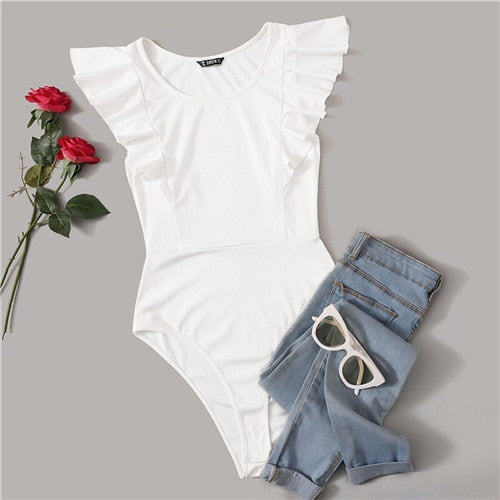 White Solid Summer Sleeveless Bodysuit