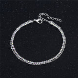 Women Double Foot Chain Silver Color Chain Ankle Bracelets  Jewelry For Foot