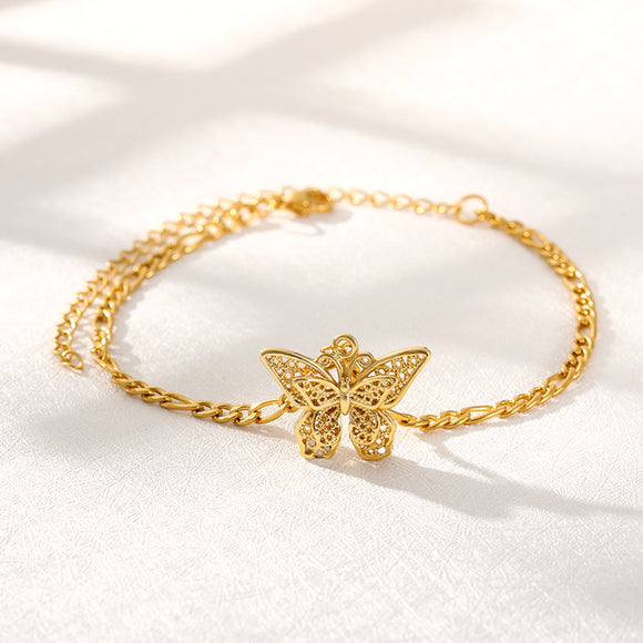 Butterfly Bracelet for Women Gold Stainless Steel Charm Bracelets for Girls