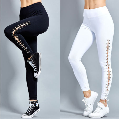 Women High Waist Fitness Leggings Lace Up Black White Solid Trousers